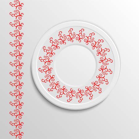 Table appointments in restaurant.  Decorative plate with round ethnic ornament. Arabic curls.  Red tones. Vintage background of napkin.