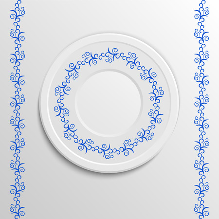 appointments: Table appointments in restaurant.  Decorative plate with round ethnic ornament. Arabic curls.  Blue tones. Vintage background of napkin.