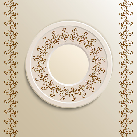 appointments: Table appointments in restaurant.  Decorative plate with round ethnic ornament. Arabic curls. Vintage background of napkin. Brown shades.