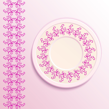 appointments: Table appointments in restaurant.  Decorative plate with round ethnic ornament. Arabic curls. Vintage background of napkin. Pink shades. Illustration