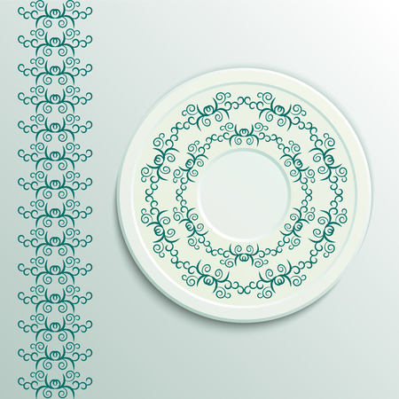 appointments: Table appointments in restaurant.  Decorative plate with round ethnic ornament. Arabic curls. Vintage background of napkin. Blue shades.