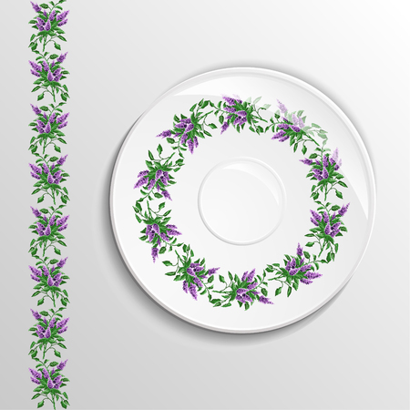 appointments: Table appointments in restaurant.  Decorative plate with round ethnic ornament. Ukrainian style.  Floral iliacs pattern. Vintage background of napkin. Violet  and green tones. Illustration