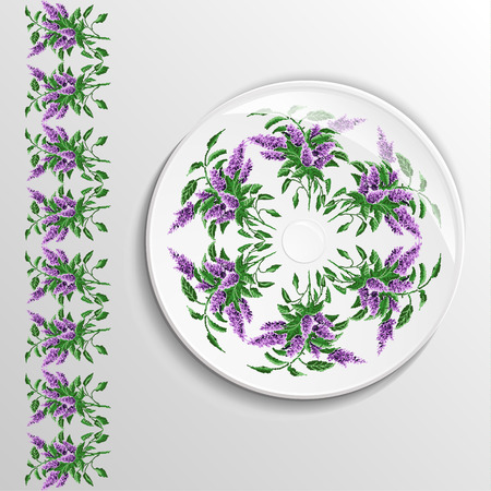 Table appointments in restaurant.  Decorative plate with round ethnic ornament. Ukrainian style.  Floral iliacs pattern. Vintage background of napkin. Green and violet elements.