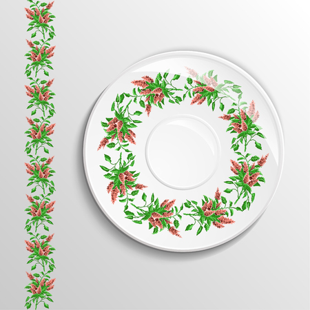 Table appointments in restaurant.  Decorative plate with round ethnic ornament. Ukrainian style.  Floral iliacs pattern. Vintage background of napkin. Green and brown elements. Illustration