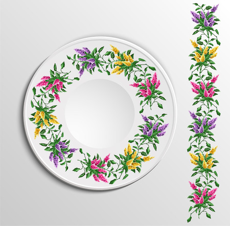 appointments: Table appointments in restaurant.  Decorative plate with round ethnic ornament. Ukrainian style.  Floral iliacs pattern. Vintage background of napkin. Violet, pink and yellow elements. Illustration