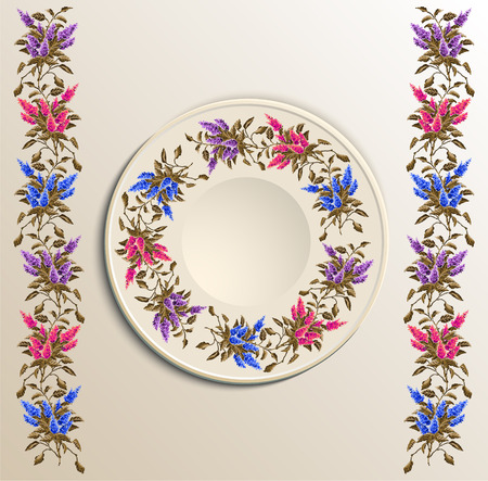 appointments: Table appointments in restaurant.  Decorative plate with round ethnic ornament. Ukrainian style.  Floral iliacs pattern. Vintage background of napkin. Violet, pink and blue elements.