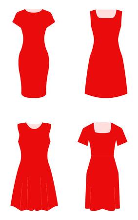 Conjunto de cuatro vestidos femeninos. Ilustración de vector