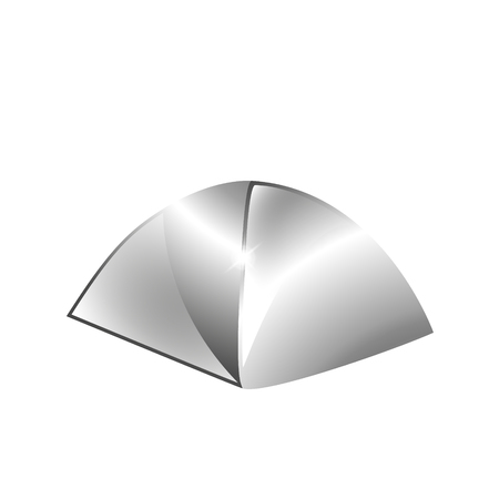 Silver tourism tent icon. Illustration