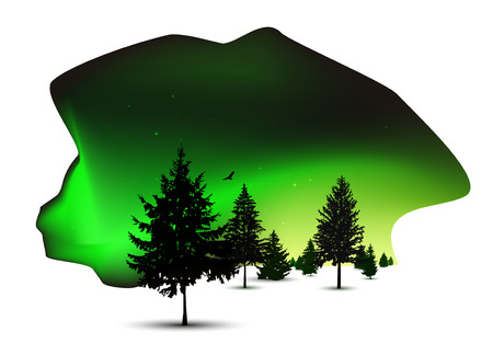 Silhouettes of pine trees. 3d location. Spot of night sky. Northern lights. Green tones. Illustration
