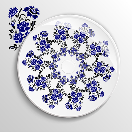 appointments: Table appointments in restaurant.. Decorative plate with round ethnic ornament. Ukrainian style.  Roses and sunflowers. Vintage background of napkin. Traditional blue and black elements. Illustration
