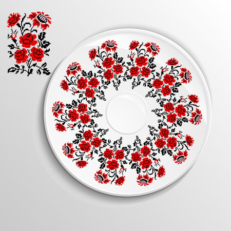 appointments: Table appointments in restaurant.. Decorative plate with round ethnic ornament. Ukrainian style.  Roses and sunflowers. Vintage background of napkin. Traditional red  and black elements. Illustration
