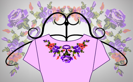 Female pink dress on hanger. Collar. Color bouquet of wildflowers (lilia, roses). Embroidery. Pixel art.