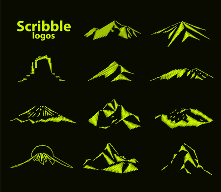 Set of eleven mountains peak logos. Matterhorn. Kilimanjaro. Fuji. Denali. Everest. Mont Blanc. Grand Canyon Rocks. Scribble art.