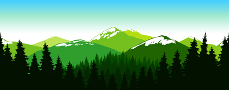 Panorama of mountains. Coniferous forest. Snowy peaks. Seamless landscape. Natural shades. Illustration