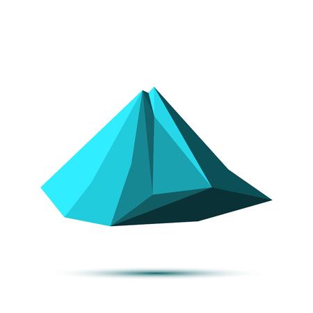 alpamayo: Snow mountains peak. Polygonal art. Blue tones. Illustration