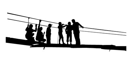 Silhouette of father with children in broken rope bridge.