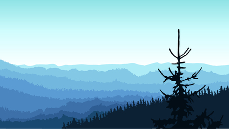 Panorama of mountains. Blue shades. Winter. Sports or water banner.