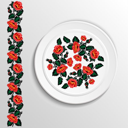 appointments: Table appointments in restaurant. Decorative plate with round ethnic ornament. Ukrainian style.  Floral lily pattern. Vintage background of napkin. Red and green tones.