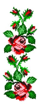 punto de cruz: Imagen en color de flores (rosas) con elementos tradicionales de bordado ucraniano. Se puede usar como arte de píxeles. Tonos rojos, rosados ??y verdes.