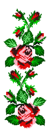 Color image of flowers (roses) using traditional Ukrainian embroidery elements. Can be used as pixel art. Red, pink and green tones. Illustration
