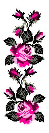 Color image of flowers (roses) using traditional Ukrainian embroidery elements. Can be used as pixel art.  Pink and black tones.