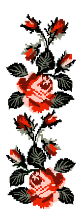Color image of flowers (roses) using traditional Ukrainian embroidery elements. Can be used as pixel art. Red and black tones. Vetores