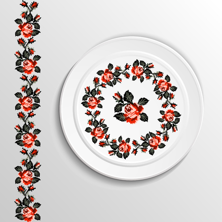 appointments: Table appointments in restaurant.. Decorative plate with round ethnic ornament. Ukrainian style.  Floral rose pattern. Vintage background of napkin. Black and red tones.