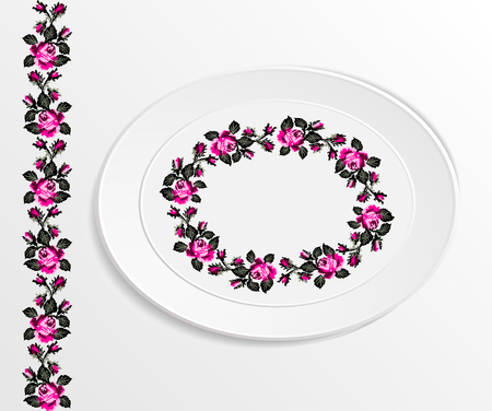 appointments: Table appointments in restaurant.. Decorative oval plate with  ethnic ornament. Ukrainian style.  Floral rose pattern. Vintage background of napkin. Pink and black tones. Illustration