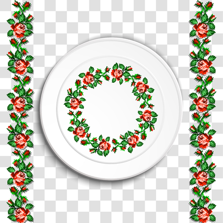 appointments: Table appointments in restaurant.. Decorative plate with round ethnic ornament. Ukrainian style.  Floral rose pattern. Vintage background of napkin. Green and red tones.
