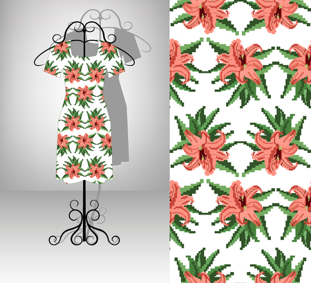 Female dress on hanger. Seamless pattern texture. Color bouquet of  lilia.  Embroidery. Pixel art. Ilustracja