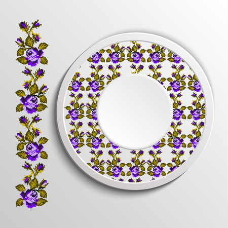 appointments: Table appointments in restaurant.. Decorative plate with round ethnic ornament. Ukrainian style.  Floral rose pattern. Vintage background of napkin. Green and violet tones. Illustration