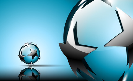 Abstract 3D logo. Glossy sphere with silver stars. Blue tones.