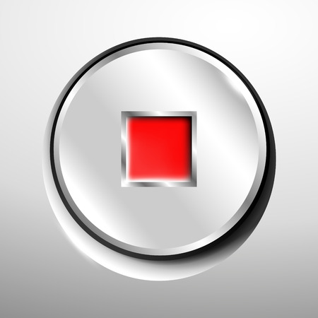 3d logo of chrome stop button Illustration