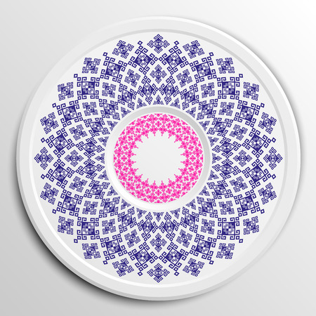 appointments: Table appointments in restaurant.. Decorative plate with round ethnic ornament.  Antique pattern.  Blue and pink tones. Illustration