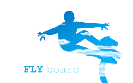 propulsion: Abstract silhouette. Fly board man. Blue and white tones of sky.
