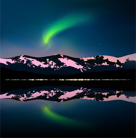 山と海の上の緑オーロラ。水の都市の黄色のライトを反映しました。Web サイト テンプレート。