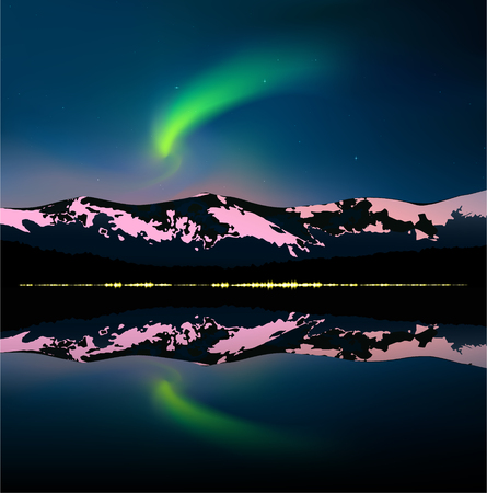 Green northern lights above mountains and sea. Reflecting yellow lights of city in water. Website template. Ilustrace