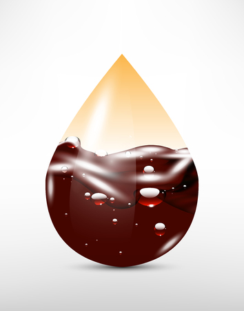 3D abstract  drop with chocolate (oil) and air. Illustration