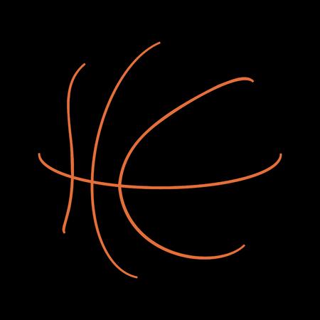 Logo of yellow basketball stripes on black background.