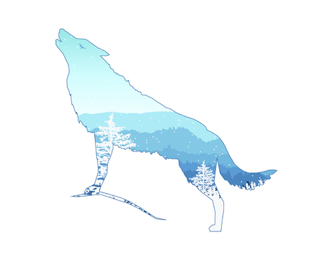 Silhouette of howling wolf with mountains  landscape and coniferous trees. Blue shades. Winter. Cold. Snowing.