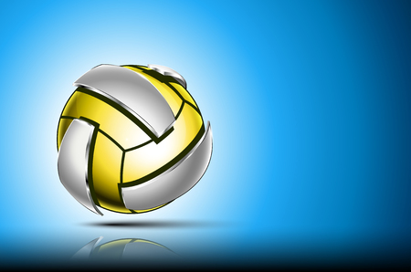 3d abstract logo of volleyball ball. Neon sphere with silver elements around outside . Blue background.