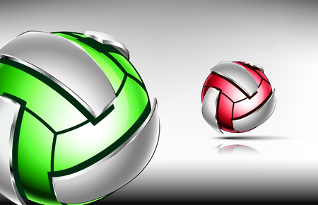3d abstract logo of volleyball ball. Neon sphere with silver elements around outside . Red and green tones. Illustration