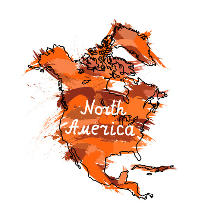 Splash stamp of North America continent. Orange and brown tones.