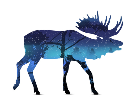 Silhouette of snarling elk with winter landscape.