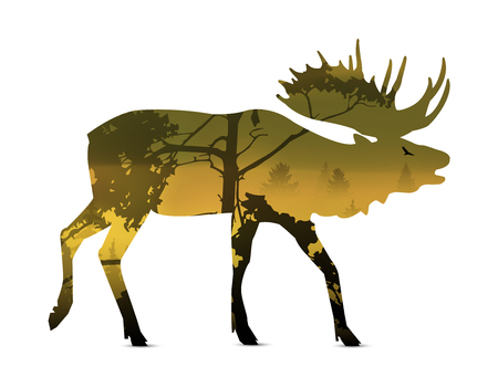 growling: Silhouette of snarling elk with yellow (autumn) landscape. Illustration