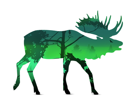 Silhouette of snarling elk with spring landscape. Illustration