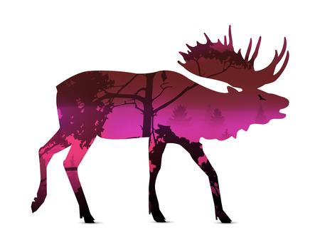 Silhouette of snarling elk with violet (summer) landscape.