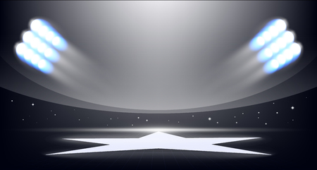 soccer field: Sport background of stadium with lights of projectors and a star in a field.