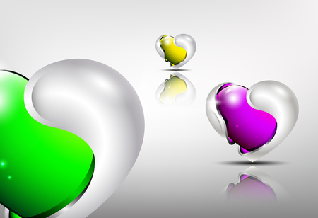 shiny hearts: 3d logo glossy hearts with silver framing outside in green, violet and yellow tones.