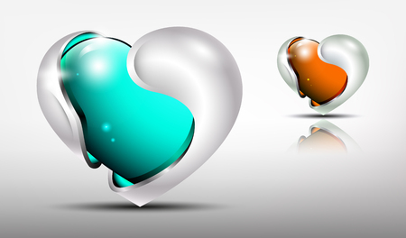 3d logo glossy hearts with silver framing outside in turquoise and carrot  tones.